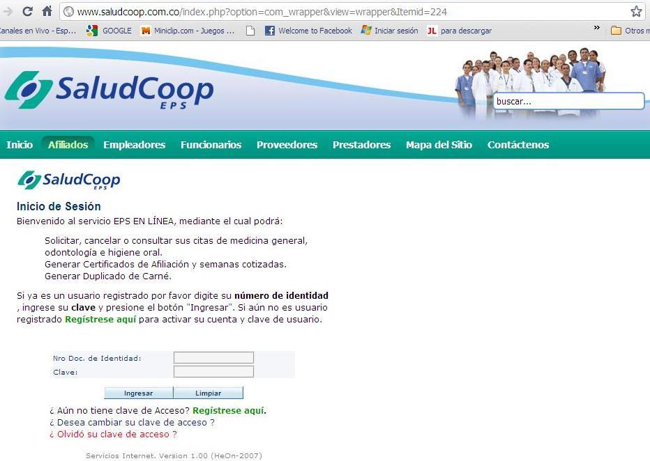saludcoop.coop citas en linea